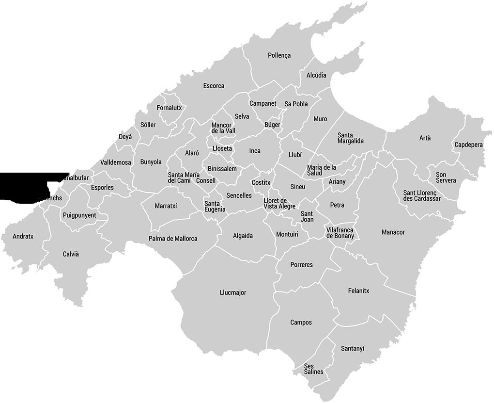 Mapa De Mallorca Municipios.Localizador De Municipios En Mallorca Stude Blas